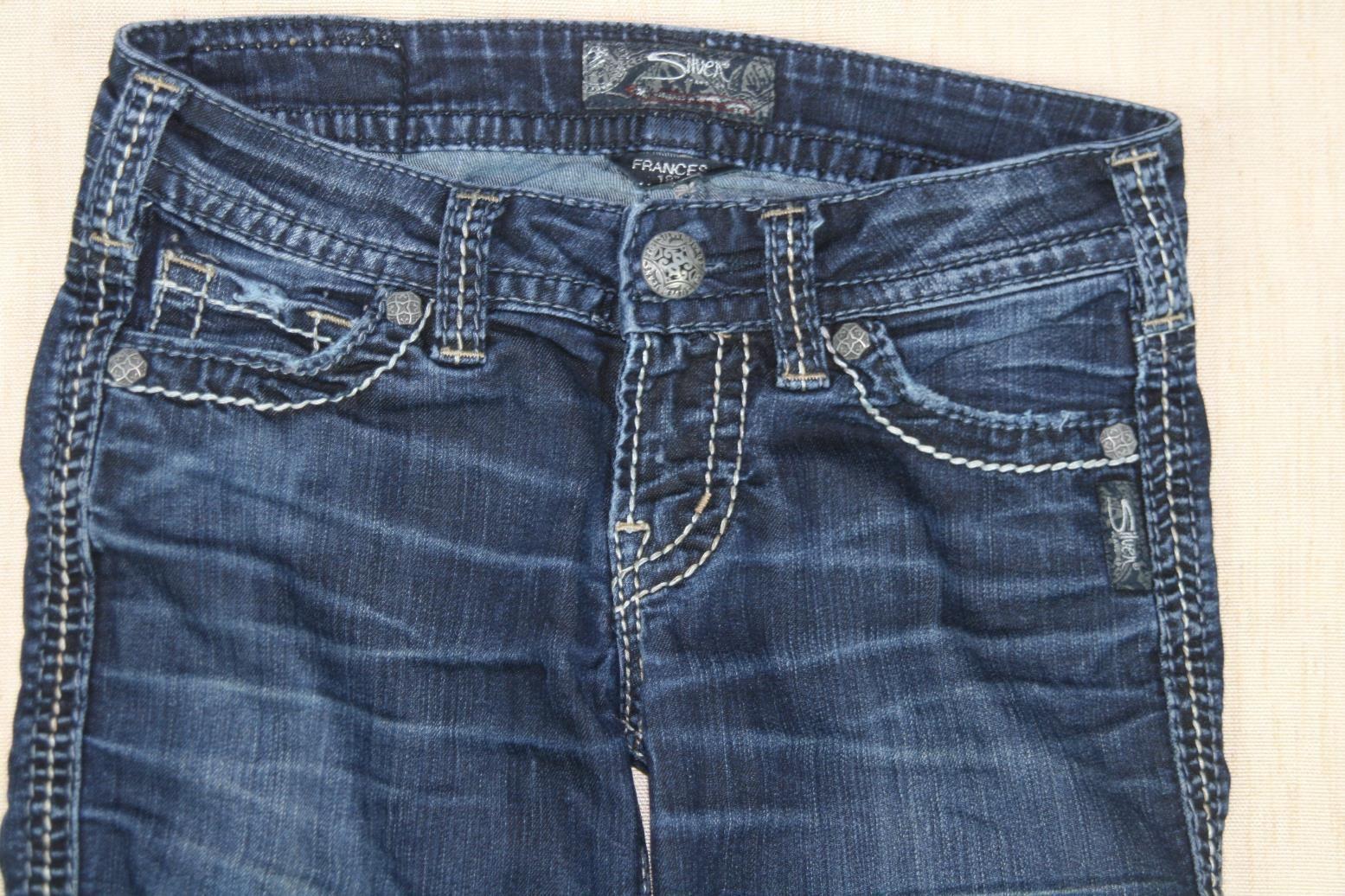 "Silver Jeans Womens Frances ..18""___ Straight Leg Dark Wash Sz 24 X 31"