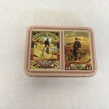 Vintage bicycle themed playing cards in pink metal container  Columbia Howe  - $19.75