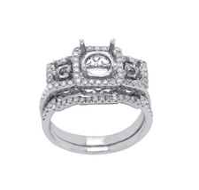 18K White Gold 0.56 CT Diamonds Semi Mount Engagement With Band Ring Siz... - £693.18 GBP