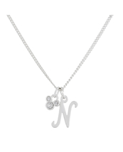 Disney Parks Mickey Mouse Faux Gem Icon Letter Initial N Necklace Silver Color - $28.90