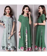 Kleid Robe Vintage Women Short Sleeve Fake Two Floral Dresses Linen Kaf... - $33.79