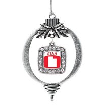 Inspired Silver Utah Outline Classic Holiday Christmas Tree Ornament With Crysta - $14.69