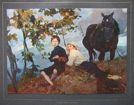 ITALY in Autumn Boys Pick Grapes Horse - COLOR Antique Print - $12.15