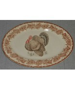 Gooseberry Patch THANKSGIVING TABLE THEME Oval Serving Platter TURKEY MOTIF - $31.67