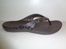 Crocs Size 6 KADEE II LEOPARD PRINT FLIP FLOPS Espresso Sandals New Wome... - $33.96