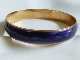VTG GOLD TONE METAL PURPLE ENAMEL BANGLE BRACELET SIGNED AVON - $19.80
