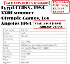 EGYPT 20 SILVER COINS 1984 Summer Olympics, Los Angeles, KM# 558 ,MINTAG... - $1,385.80