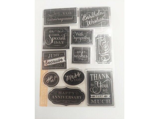 Sentiments Clear Cling Stamp Set, Includes Birthday, Sympathy, Thank You & More