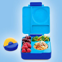 OmieBox Bento Box With Insulated Thermos Kids School Lunchbox Blue Sky  - $45.50