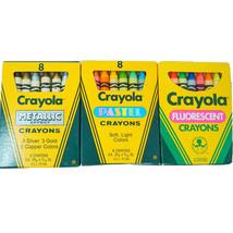 3X Crayola Vintage Lot Metallic~Pastel~Fluorescent Crayons New 1987, 1988 - $62.58