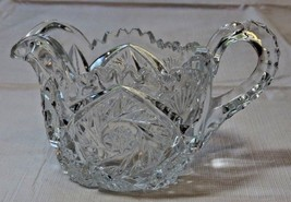 Vintage Clear Glass creamer Scalloped edges star swirl RARE~ - $20.78