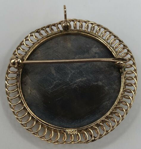 Vintage 14K Yellow Gold Mother of Pearl Oval Cameo Pendant or Brooch  image 2