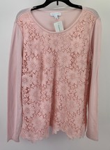Charter Club Floral Lace Front Sweater Misty Pink M 100000987 - $14.84