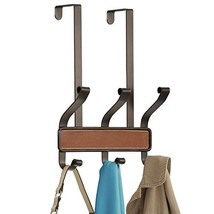 mDesign Decorative Over Door 6 Hook Storage Organizer Rack - Holds Hats, Coats,