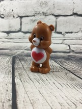 "Vintage Care Bear Figure Brown 2"" Red Heart - $9.89"
