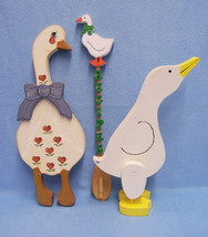 Lot of 3 Goose Decor Country Style Wooden Geese Handmade Crafts very cute - $9.89