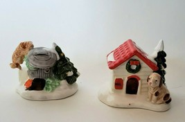 Dept 56 Snow Village Doghouse Cat In Garbage Can Porcelain figurines  #5... - $12.00