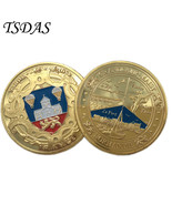 Normandie France Gold Plated Coin With Plastic Box USA Souvenirs Militar... - €4,70 EUR