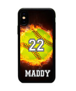 PERSONALIZED NAME NUMBER FIRE SOFTBALL CASE COVER FOR IPHONE XR XS Max X... - $11.99+