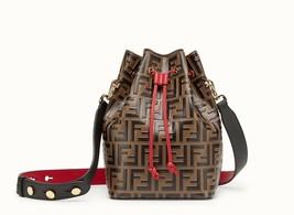 NWT Fendi Mon Tresor black/brown FF Leather Shoulder small bucket Bag; R... - $1,749.99
