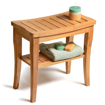 Bamboo Shower Seat Bench Bathroom Spa Bath Organizer Stool with Storage ... - $82.98
