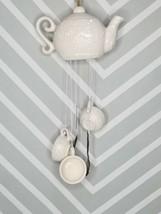 Pretty Home White Porcelain Teapot Wind Chimes - $11.88