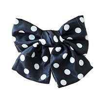 Retro Black Polka Dots Large Bowknot French Barrettes Handmade Chiffon L... - $11.83