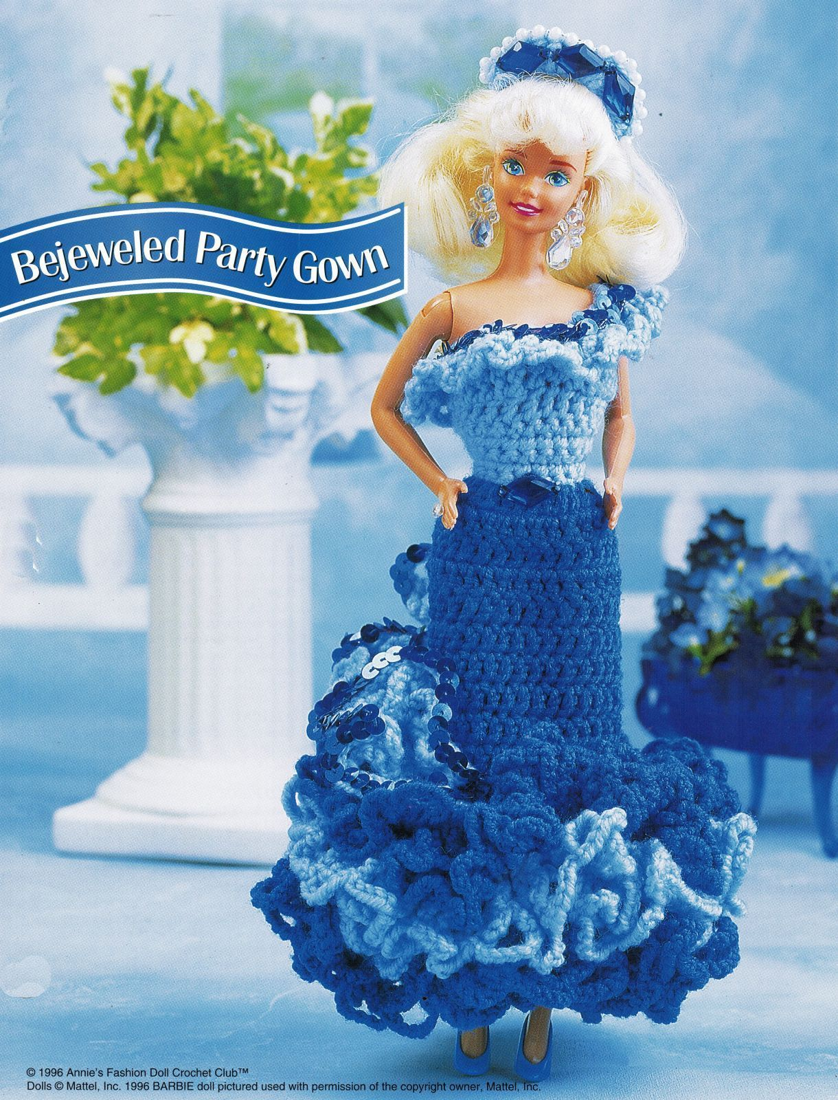 "Cocktail Evening Party Dress Gown Barbie 11-1/2"" Doll Clothes Crochet Pattern image 2"