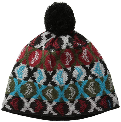 Pistil Women's Mimic Beanie Lined Knit Pom Hat One Size Black Graphic Pattern