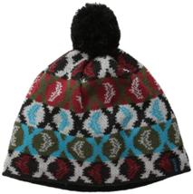 Pistil Women's Mimic Beanie Lined Knit Pom Hat One Size Black Graphic Pattern