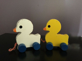 Rare vintage Wood Yellow White Pull rolling Toy Ducks Set of 2 lot - $29.69