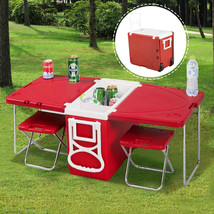 NEW! Picnic Camping Outdoor Rolling Cooler With Table & 2 Chairs RED - $93.94