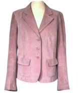 70s Pink Blush Genuine Suede Leather Single Breast Vintage Blazer Jacket L - $41.00