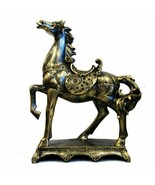 Horse Statue on Stand, Antique Gold, H:  405mm x W:  320mm - $107.05