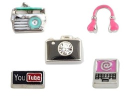 Retro Radio Camera Headphones YouTube Computer Floating Charms for Memor... - $1.99+