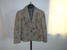 NWT Coldwater Creek Size P14 Flocked Tweed Jacket Brown With Leaf Design... - $29.02