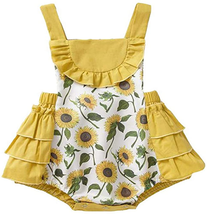 Baby Girl Jumpsuit Outfits Sunflower Backless Sleeveless Romper Infant S... - $7.91