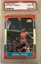 1986 Fleer Michael Jordan #57 Authentic ROOKIE Card Graded PSA 8 Verified - $3,312.35
