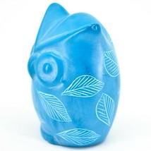 Tabaka Chigware Hand Carved Kisii Soapstone Sky Blue Owl Figurine Handmade Kenya image 2