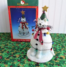 Christmas Cat With Tree 7.5 Inch Table Sculpture Decor 1990s Boxed Cat Snowman - $24.00