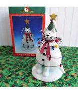 Christmas Cat With Tree 7.5 Inch Table Sculpture Decor 1990s Boxed Cat S... - $24.00