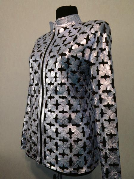 Silver Leather Leaf Jacket Women All Colors Sizes Genuine Lambskin Zip Short D6