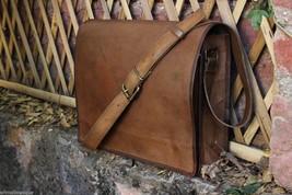 """NEW15"""" MensVintage Brown Leather Full Flap Messenger Laptop Satchel Shou... - $28.70"""