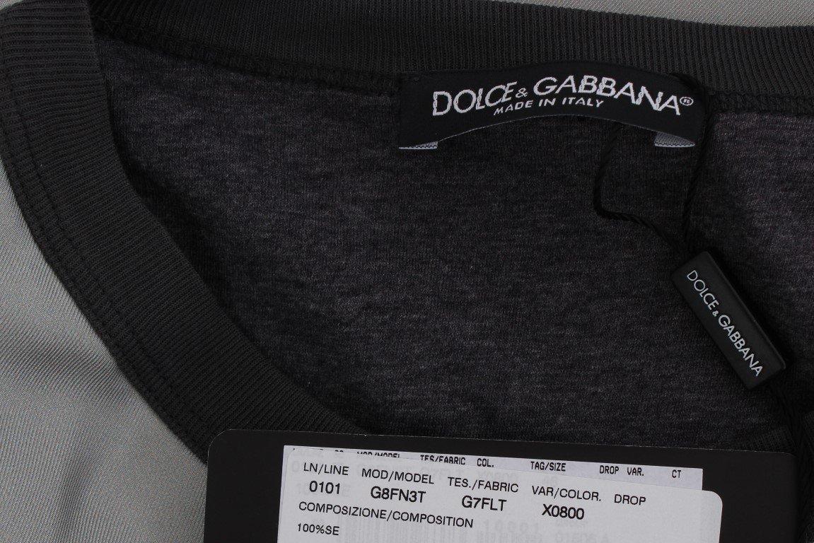 Dolce & Gabbana DG FAMILY Print Gray Crewneck Silk Sweater