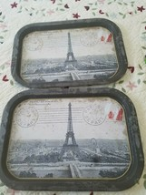 "2 Serving Metal  Trays  Eiffel Tower Paris. 15 3/4 x 11"" - $29.69"