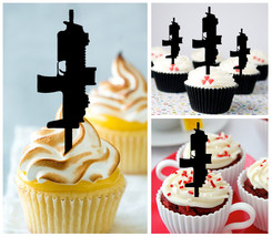 Ca068 Decorations cupcake toppers Gun silhouettes Package : 10 pcs - $10.00