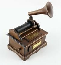 Vintage Miniature Wooden Edison Gramophone Phonograph Musical Box - $26.99