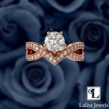 1 Ct Round Cut & 0.41 Ct Pave Twisted Band Engagement Ring - $94.05