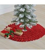 Festive Ruffled Burlap Christmas Mini Tree Skirt-Natural or Red Burlap 2... - $14.95