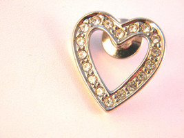 Heart lapel Pin. Avon Silver Tone  Metal and Rhinestones Valentine Gift ... - $13.49